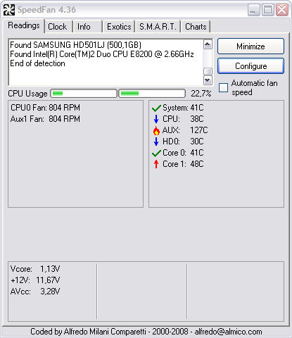 SpeedFan 4.36 screenshot