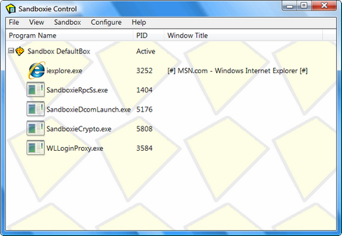 Sandboxie screenshot (481 pix)