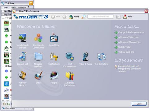 Trillian 3.1 screenshot (481 pix)