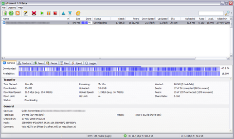 µTorrent 1.9 beta screenshot (481 pix)
