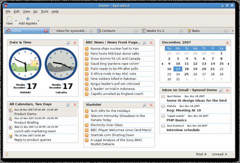 Spicebird screenshot (481 pix)