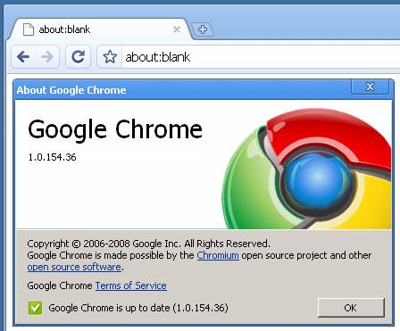 Google Chrome versie 1.0
