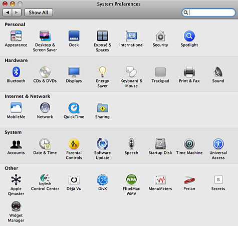 System Preferences in Mac OS X 10.5.6 - Trackpad heeft nu een eigen pane