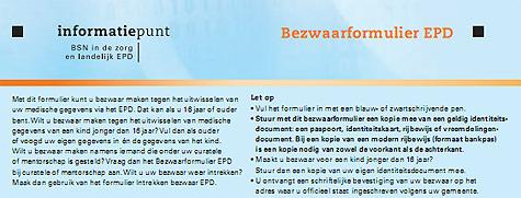 Bezwaarformulier elektronisch pati�ntendossier (EPD)