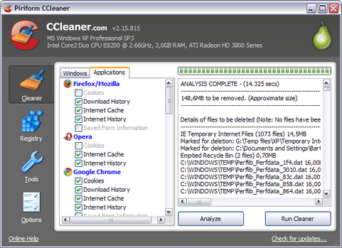Ccleaner 2.15.815 screenshot (481 pix)