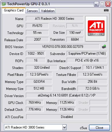 GPU-Z 0.3.1 screenshot