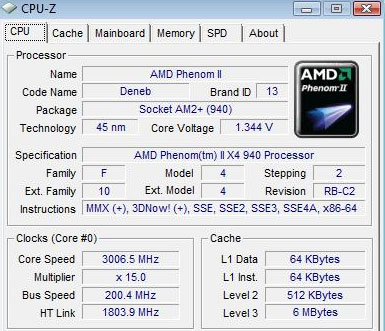 AMD Phenom II X4 940 cpu-z