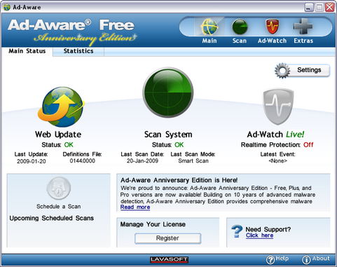 Ad-Aware Anniversary Edition screenshot (481 pix)