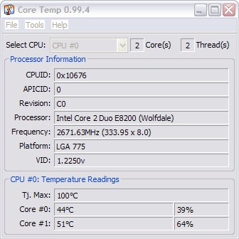 CoreTemp 0.99.4 screenshot