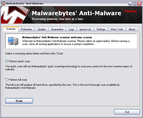 Malwarebytes' Anti-Malware screenshot (481 pix)