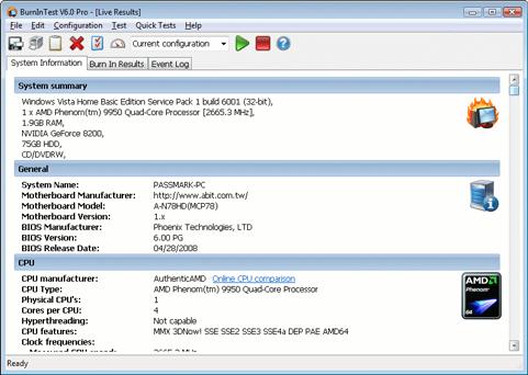 Passmark BurninTest 6.0 screenshot (481 pix)