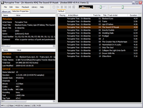 foobar2000 0.9.6.3 bèta 2 screenshot (481 pix)