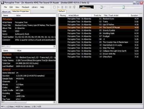 foobar2000 0.9.6.3 bèta 2 screenshot (481 pix)