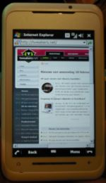 T.net in de browser van Toshiba-smartphone