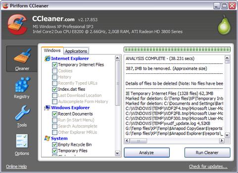Ccleaner 2.17.853 screenshot (481 pix)