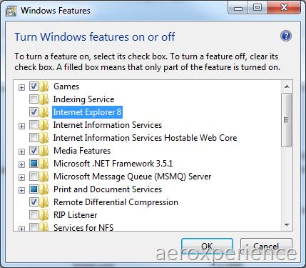 IE8 verwijderen in Windows 7 build 7048