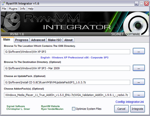RyanVM Integrator 1.6 screenshot (481 pix)