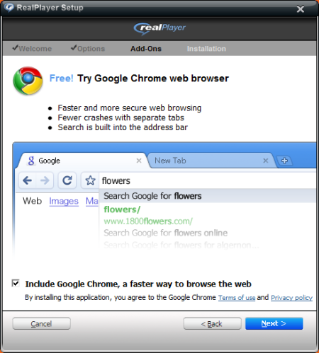 Chrome-promotie in Real Player