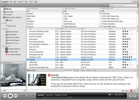 Songbird 1.1.1 screenshot (481 pix)
