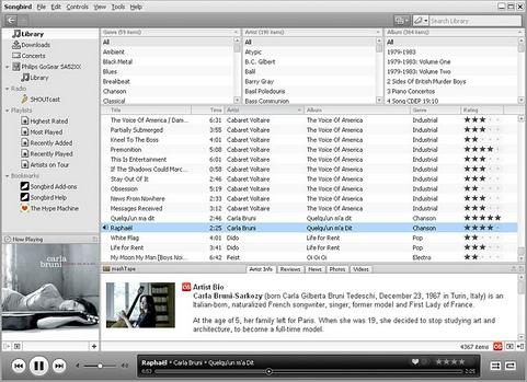 Songbird 1.1.1 screenshot (481 pix)