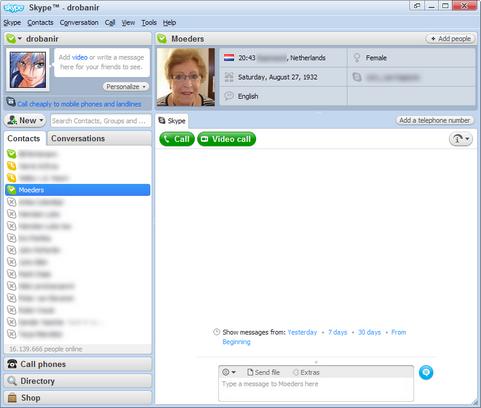 Skype for Windows 4.0 screenshot (481 pix)