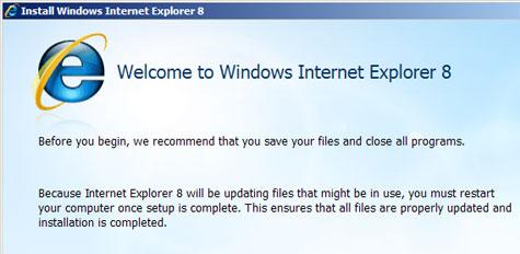 Internet Explorer 8 installatie