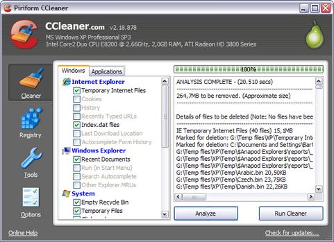 CCleaner 2.18.878 screenshot (481 pix)
