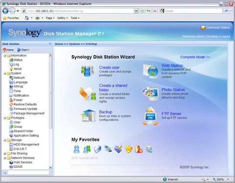 Synology Disk Station Manager 2.1-0839 screenshot