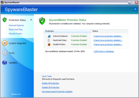 SpywareBlaster 4.2 screenshot (481 pix)