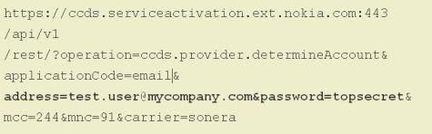 Code die toestel naar Nokia stuurt