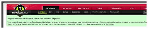 Melding Tweakers.net bij gebruik IE6