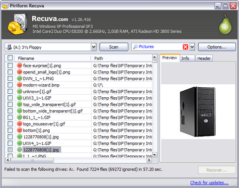 Recuva 1.26.416 screenshot (481 pix)