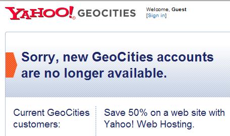 Yahoo sluit GeoCities