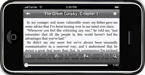 Stanza ebook-app voor iPhone, liggend
