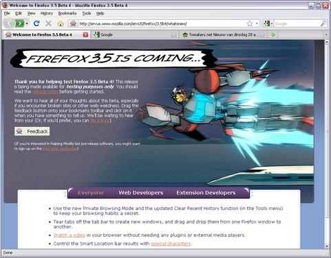Mozilla Firefox 3.5 bèta 4 screenshot (481 pix)