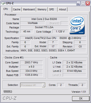 CPU-Z 1.51 screenshot