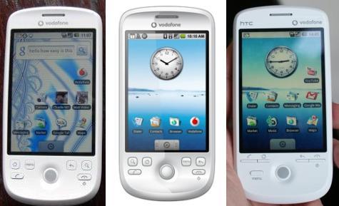 Drie keer de HTC Magic: links is de versie die in de winkel komt te liggen