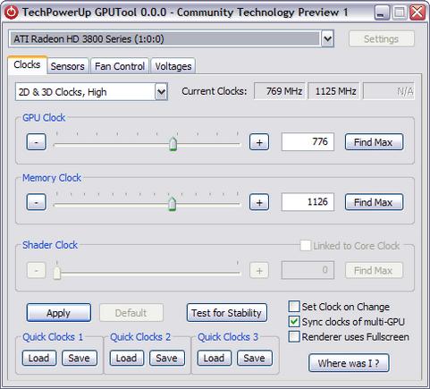 GPUTool Community Technology Preview 1 screenshot (481 pix)