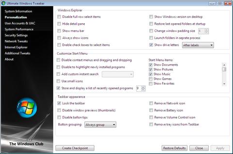 Ultimate Windows Tweaker 1.2 screenshot (481 pix)