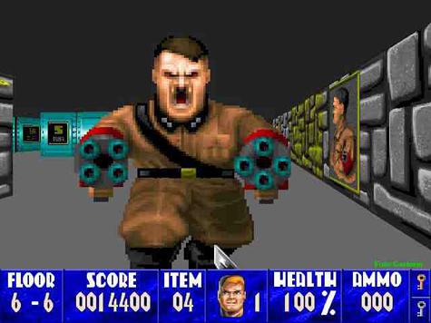 Hitler als eindbaas in Wolfenstein 3D