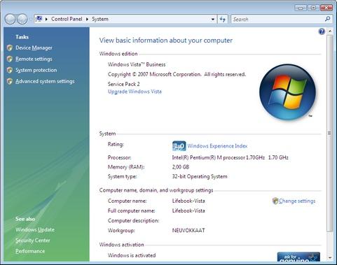 Microsoft Windows Vista met Service Pack 2