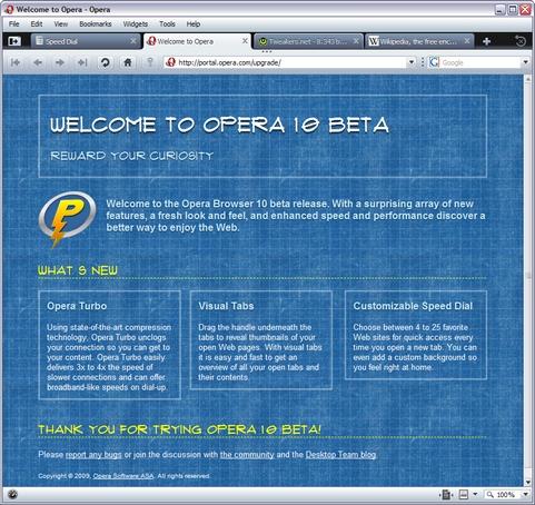 Opera 10 build 1551 beta 1 screenshot (481 pix)