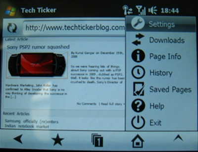 Interface Opera Mobile 9.7