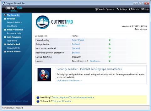 Agnitum Firewall Pro screenshot (481 pix)