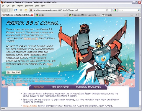 Mozilla Firefox 3.5 rc1 screenshot (481 pix)