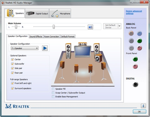 Realtek High Definition Audio 2.27 onder Windows 7