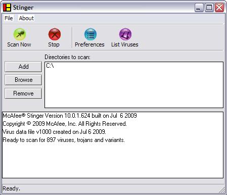 McAfee Stinger 10.0.1.624 screenshot