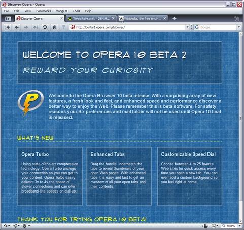 Opera 10 beta 2 screenshot (481 pix)