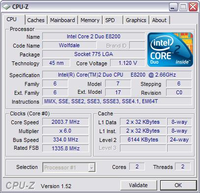CPU-Z 1.52 screenshot