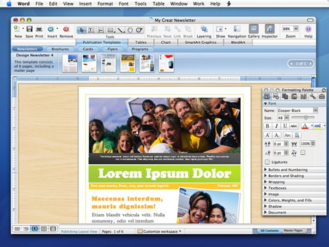 Microsoft Office 2008 voor Mac screenshot (481 pix)